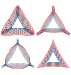 Set of guilloche triangular elements for design vector image vector image