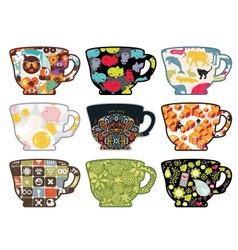 Set of tea cups with funny patterns vector image