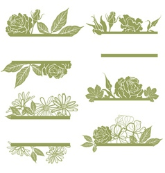 set of vintage frames with flowers vector image vector image
