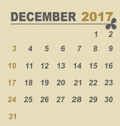 Simple calendar template of december 2017 vector