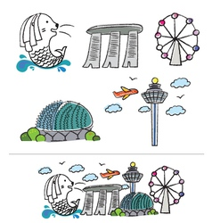 singapore city skyline cartoon vector image