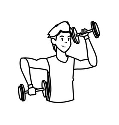 sport man dumbbell fitness active lifestyle line vector image