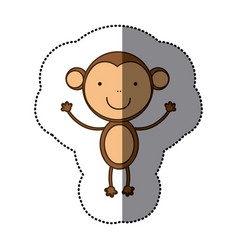 Sticker colorful cute monkey animal vector