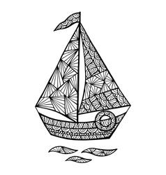 Stylized sailboat zentangle vector image