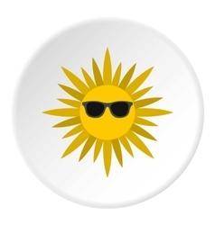 Summer sun icon flat style vector