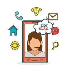 Taxi mobile girl call center icon network vector