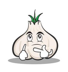 Thinking face garlic cartoon character vector