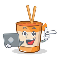 With laptop cup noodles character cartoon vector