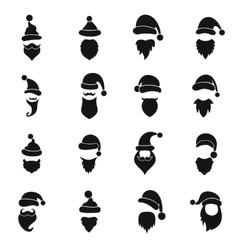 Santa hats mustache and beards icons set vector image
