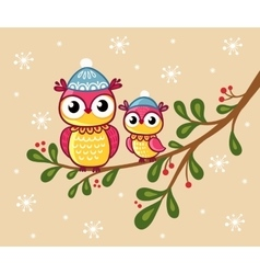 Two owls in hats sit on a branch vector