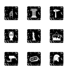 Museum icons set grunge style vector