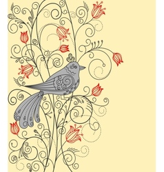 Abstract floral background with beautiful bird vector