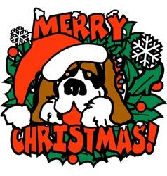 Merry christmas santa dog vector image