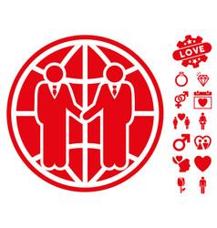 Global partnership icon with love bonus vector