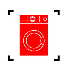 washing machine sign  red icon inside vector image