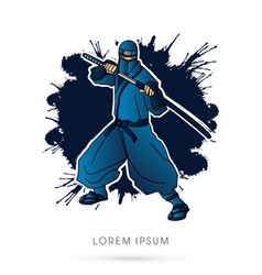 Blue ninja and sword vector