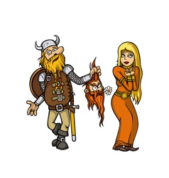 Viking in love vector