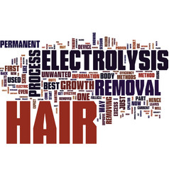 Electrolysis hair removal text background word vector