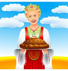 The girl with a loaf on a wheaten field vector