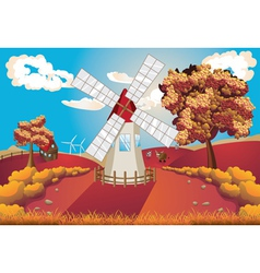 Autumn landscape with windmill vector