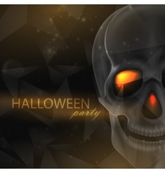 Halloween of an evil skull on geometric polygonal vector