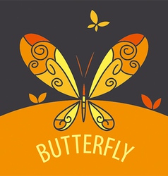 Logo butterfly on bright background vector