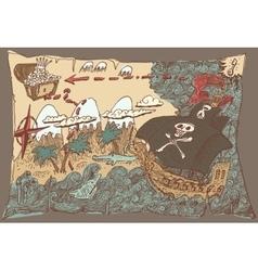 Island treasure map engaved vector