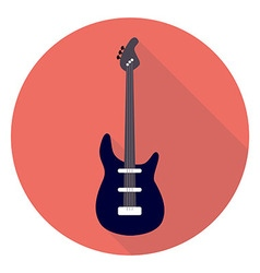 Guitar flat circle icon vector