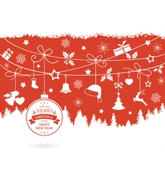Christmas ornaments decorations red vector image