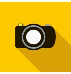 Black camera icon in flat style vector