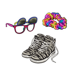 90s fashion - sneakers sunglasses with removable vector