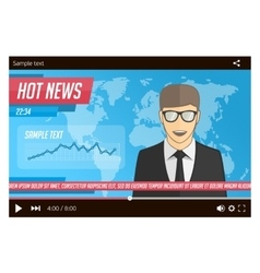 Anchorman news in video player vector