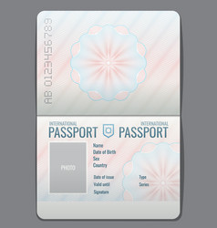 blank open passport template isolated vector image vector image