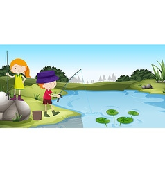 Boy and girl fishing at the river vector image