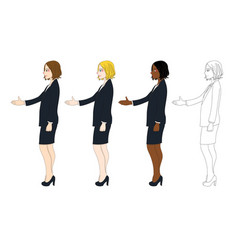 Business woman hand shake vector