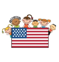 children on American flags banner independence day vector image