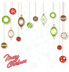 Christmas greeting card with xmas toys vector image vector image