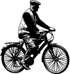 elderly man riding bicycle sketch vector image vector image