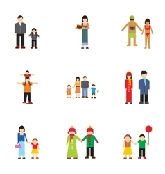 Family relatives icons set flat style vector