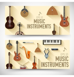 Flat music instruments banners concept desig vector