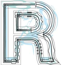Font letter R vector image