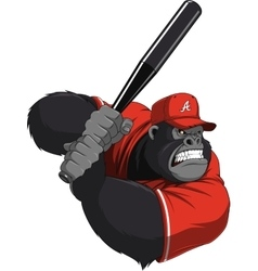 Funny monkey ballplayer vector