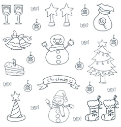 Hand draw design christmas set doodle vector image