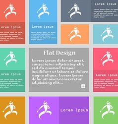 Karate kick icon sign set of multicolored buttons vector