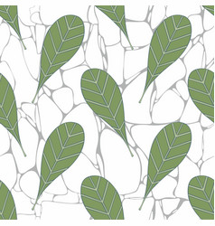 Leaves on the background of marble vector