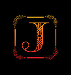 letter j with ornament vector image vector image