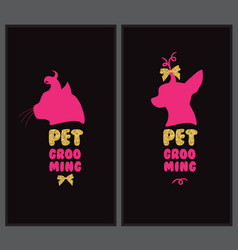 Logo for pet hair salon with animal silhouette vector
