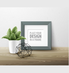 Mock up frame wall of the interior background vector