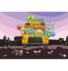 monsters and school bus vector image