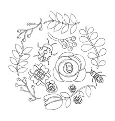 natural floral decoration flower ladybug bee vector image vector image